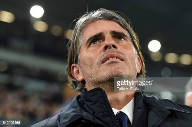 Head coach Diego Lopez of Palermo looks on during the Serie A match between Juventus FC and US Citta di Palermo at Juventus Stadium on February 17...
