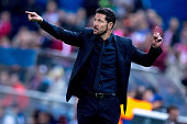 Head coach Diego Pablo Simeone gives instructions during the UEFA Champions League Group C match between Club Atletico de Madrid and FC Astana at...