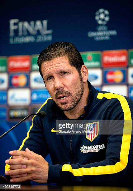 Head coach Diego Pablo Simeone of Atletico de Madrid answers questions from the media at a Club Atletico de Madrid press conference during the Media...