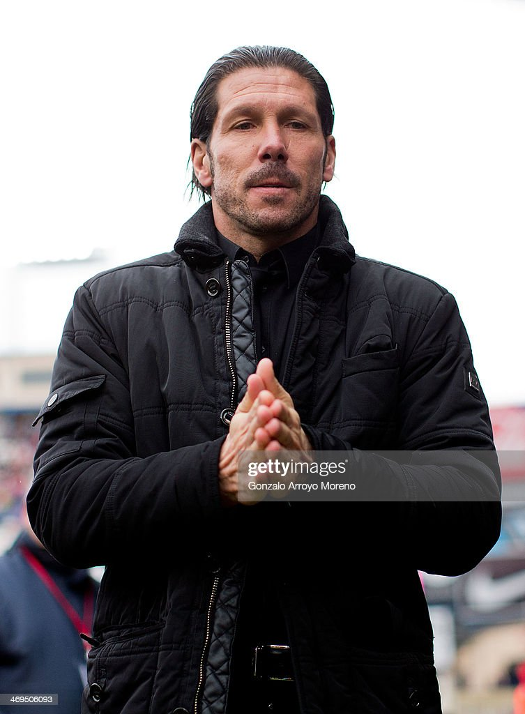 Head coach Diego Pablo Simeone of Atletico de Madrid looks on prior to start the La Liga match between Club Atletico de Madrid and Real Valladolid CF at Vicente Calderon Stadium on February 15, 2014 in Madrid, Spain.