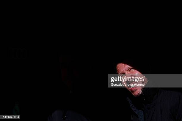 Head coach Diego Pablo Simeone of Atletico de Madrid looks up sitted on the bench prior to start the La Liga match between Real Madrid CF and Club...