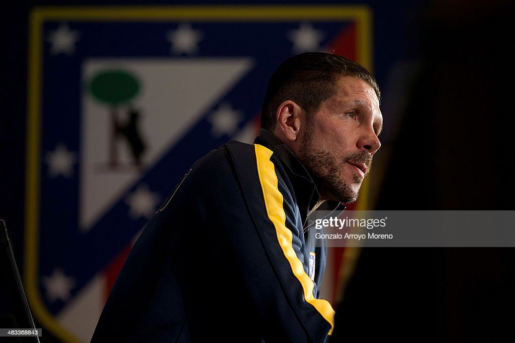 Head coach Diego Pablo Simeone of Atletico de Madrid speaks to the media during a press conference the day before the UEFA Champions League Quarter-final match between Atletico de Madrid and FC Barcelona at Vicente Calderon Stadium on April 8, 2014 in Madrid, Spain.