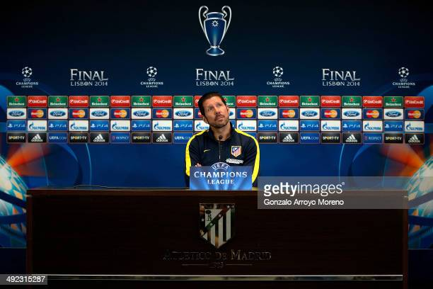 Head coach Diego Pablo Simeone of Atletico de Madrid waits to attend questions from the media at Club Atletico de Madrid press conference during the...
