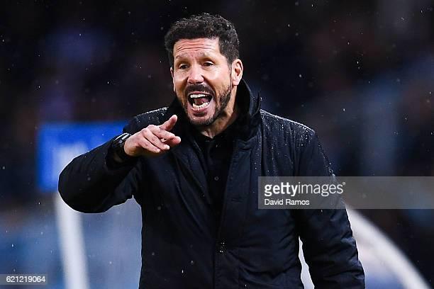 Head coach Diego Pablo Simeone of Atletico Madrid reacts during the La Liga match between Real Sociedad de Futbol and Atletico de Madrid at Anoeta...