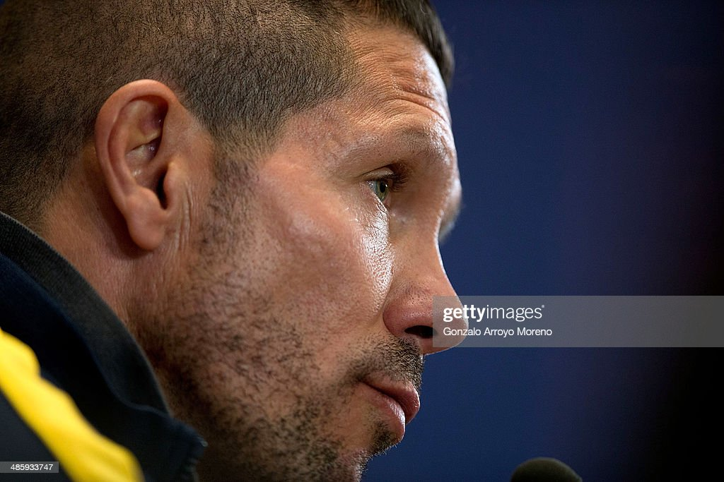 Head coach Diego Pablo Simeone of Club Atletico de Madrid answers questions from the media during a press conference the day before the UEFA Champions League Semifinal first leg match between Club Atletico de Madrid and Chelsea FC at Vicente Calderon Stadium on April 21, 2014 in Madrid, Spain.