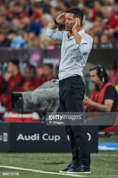 Head coach Diego Simeone of Atletico Madrid gestures during the Audi Cup 2017 match between Liverpool FC and Atletico Madrid at Allianz Arena on...