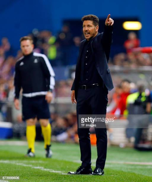 Head coach Diego Simeone of Atletico Madrid gestures during the UEFA Champions League Quarter Final first leg match between Club Atletico de Madrid...