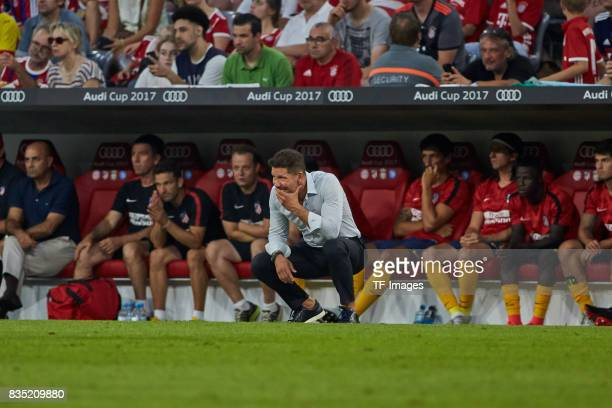 Head coach Diego Simeone of Atletico Madrid looks on during the Audi Cup 2017 match between Liverpool FC and Atletico Madrid at Allianz Arena on...