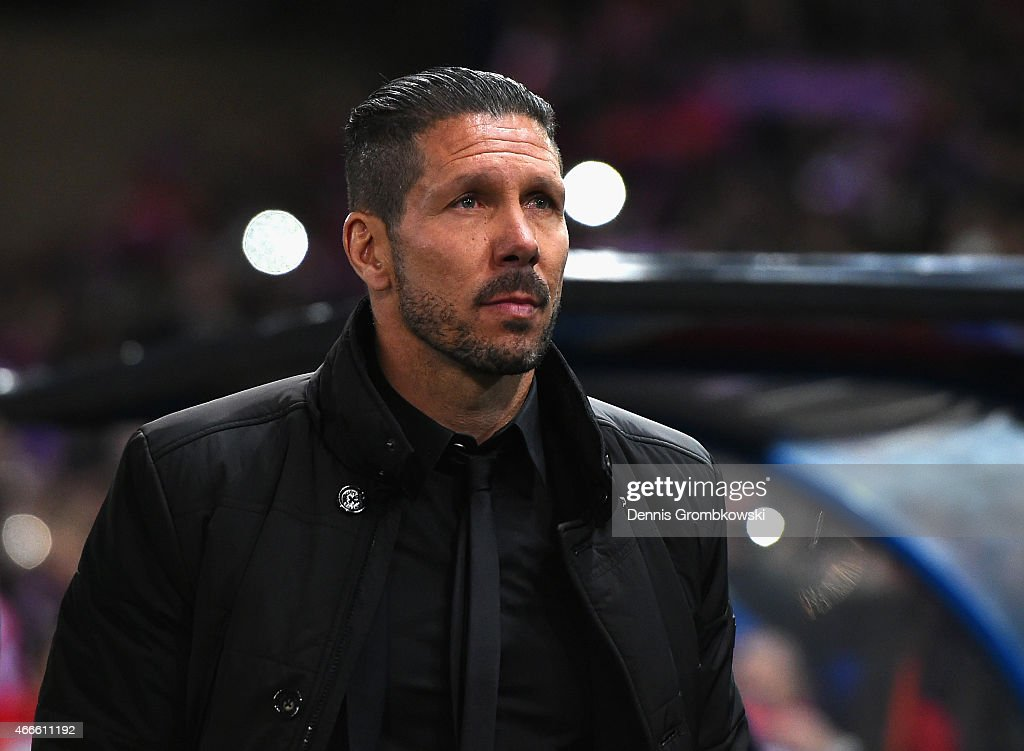Head Coach Diego Simeone of Atletico Madrid looks on during the UEFA Champions League round of 16 match between Club Atletico de Madrid and Bayer 04 Leverkusen at Vicente Calderon Stadium on March 17, 2015 in Madrid, Spain.