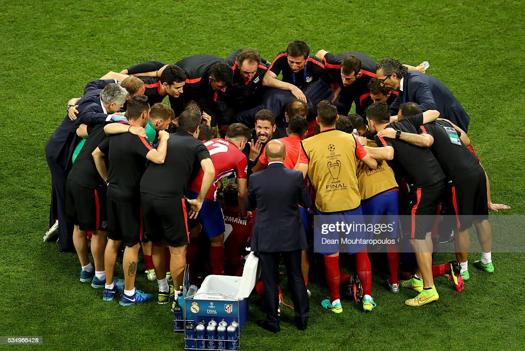 the Club Atletico de Madrid huddle is seen prior to the extra time during the UEFA Champions League Final match between Real Madrid and Club Atletico de Madrid at Stadio Giuseppe Meazza on May 28, 2016 in Milan, Italy.