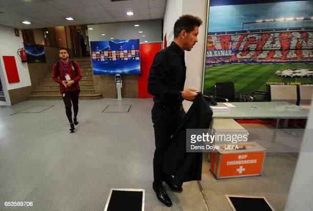 Head coach Diego Simeone of Club Atletico de Madrid arrives for the UEFA Champions League Round of 16 second leg match between Club Atletico de...