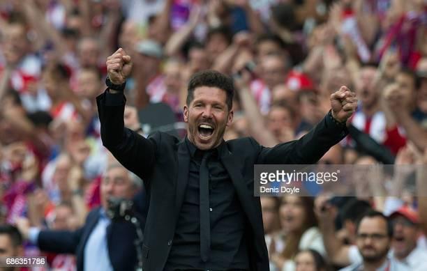 Head coach Diego Simeone of Club Atletico de Madrid celebrates his team's 3rd goal during the La Liga match between Club Atletico de Madrid and...
