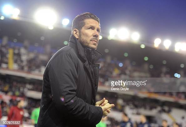 Head coach Diego Simeone of Club Atletico de Madrid looks on during the La Liga match between Club Atletico de Madrid and Rayo Vallecano de Madrid at...