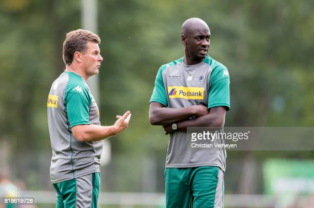 Head Coach Dieter Hecking and Co Trainer Otto Addo during a training session at the Training Camp of Borussia Moenchengladbach on July 18 2017 in...