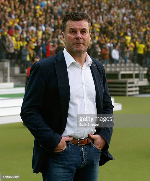 Head coach Dieter Hecking looks on prior to the DFB Cup Final match between Borussia Dortmund and VfL Wolfsburg at Olympiastadion on May 30 2015 in...