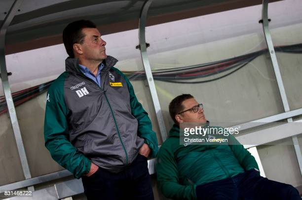 Head Coach Dieter Hecking of Borussia Moenchengladbach and Director of Sport Max Eberl of Borussia Moenchengladbach seen ahead the DFB Cup match...