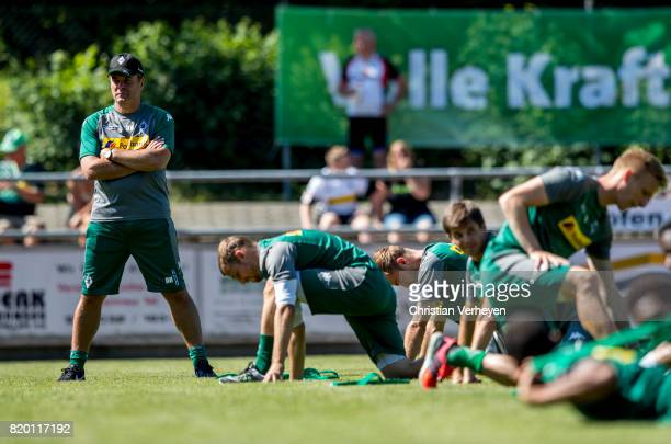 Head Coach Dieter Hecking of Borussia Moenchengladbach during a training session at the Training Camp of Borussia Moenchengladbach on July 21 2017 in...