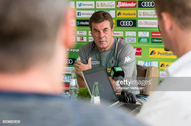 Head Coach Dieter Hecking of Borussia Moenchengladbach talks to the media at the Training Camp of Borussia Moenchengladbach on July 22 2017 in...