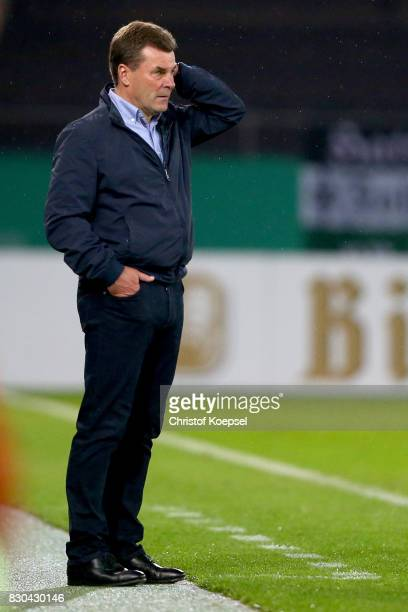 Head coach Dieter Hecking of Mnchengladbach reacts during the DFB Cup first round match between RotWeiss Essen and Borussia Moenchengladbach at...