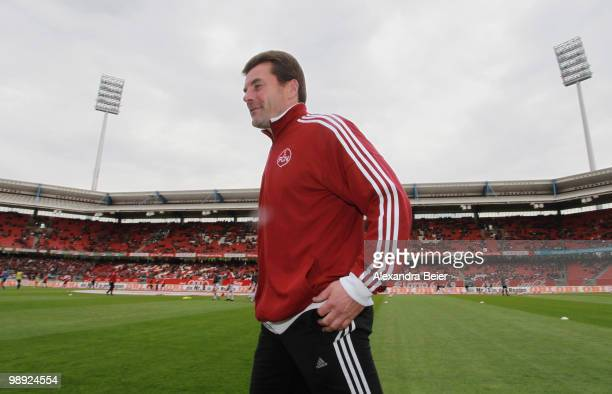 Head coach Dieter Hecking of Nuernberg arrives for the Bundesliga match between 1 FC Nuernberg and 1 FC Koeln at Easy Credit Stadium on May 8 2010 in...
