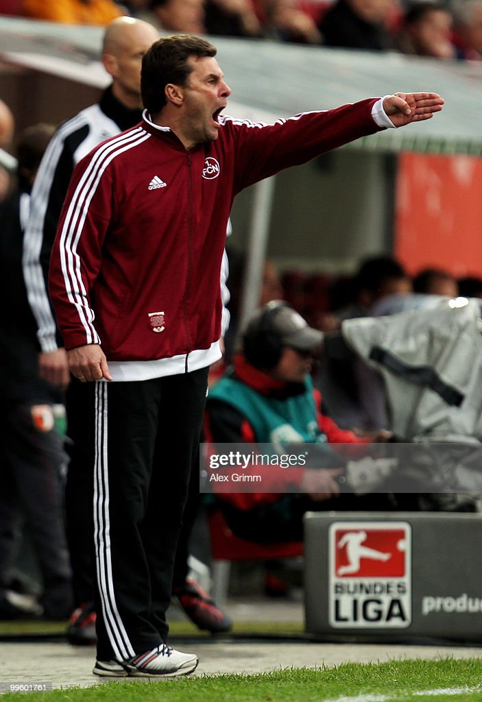 Head coach Dieter Hecking of Nuernberg reacts during the Bundesliga play off leg two match between FC Augsburg and 1. FC Nuernberg at the Impuls Arena on May 16, 2010 in Augsburg, Germany.