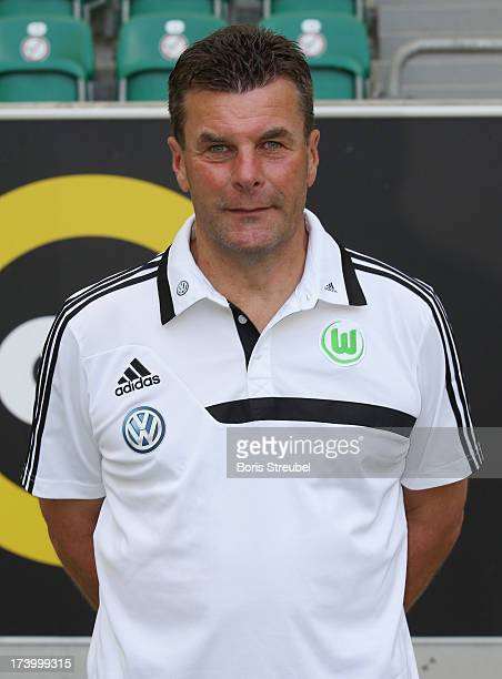 Head coach Dieter Hecking of VfL Wolfsburg poses during the Bundesliga team presentation of VfL Wolfsburg at Volkswagen Arena on July 18 2013 in...