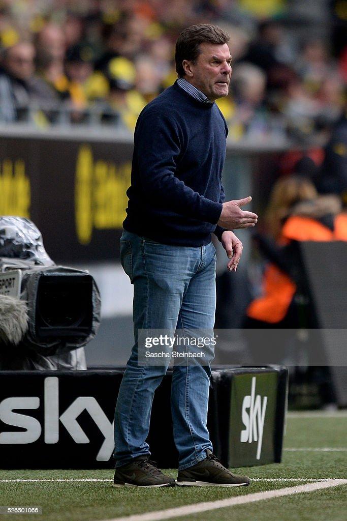 Head coach Dieter Hecking of Wolfsburg reacts during the Bundesliga match between Borussia Dortmund and VfL Wolfsburg at Signal Iduna Park on April 29, 2016 in Dortmund, Germany.