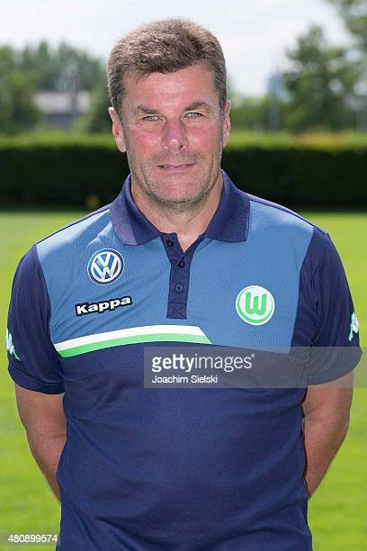 Head Coach Dieter Hecking poses during the team presentation of VfL Wolfsburg at Volkswagen Arena on July 16 2015 in Wolfsburg Germany
