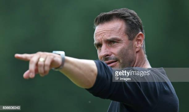 Head coach Dietmar Hirsch of Oldenburg gestures during the preseason friendly match between VfB Oldenburg and FC St Pauli on July 8 2017 in Varel...