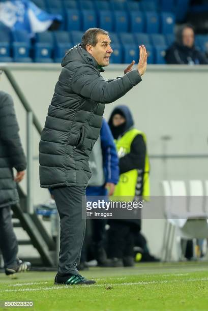 Head coach Dimitar Dimitrov of Ludogorets gestures during the UEFA Europa League group C match between 1899 Hoffenheim and PFC Ludogorets Razgrad at...