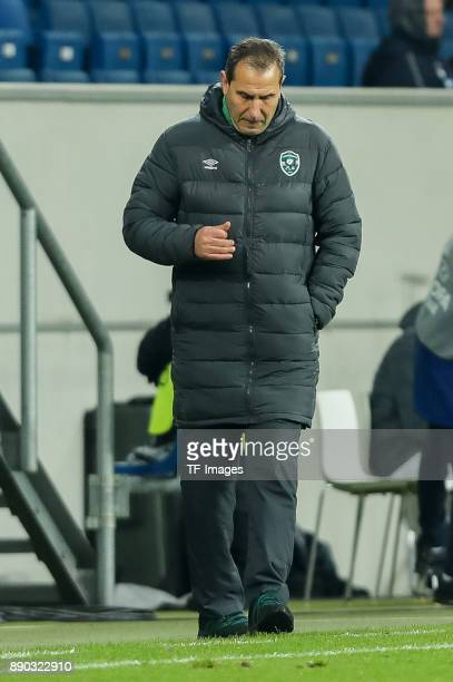 Head coach Dimitar Dimitrov of Ludogorets looks on during the UEFA Europa League group C match between 1899 Hoffenheim and PFC Ludogorets Razgrad at...