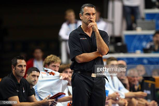 Head coach Dirk Bauermann bof Germany looks dejected during the EuroBasket 2011 second round group E match between Germany and Turkey at Siemens...