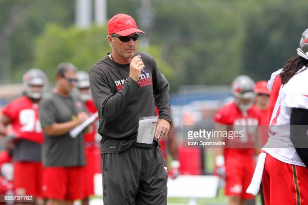 Head Coach Dirk Koetter is set to blow the play dead during the Tampa Bay Buccaneers Minicamp on June 13 2017 at One Buccaneer Place in Tampa Florida