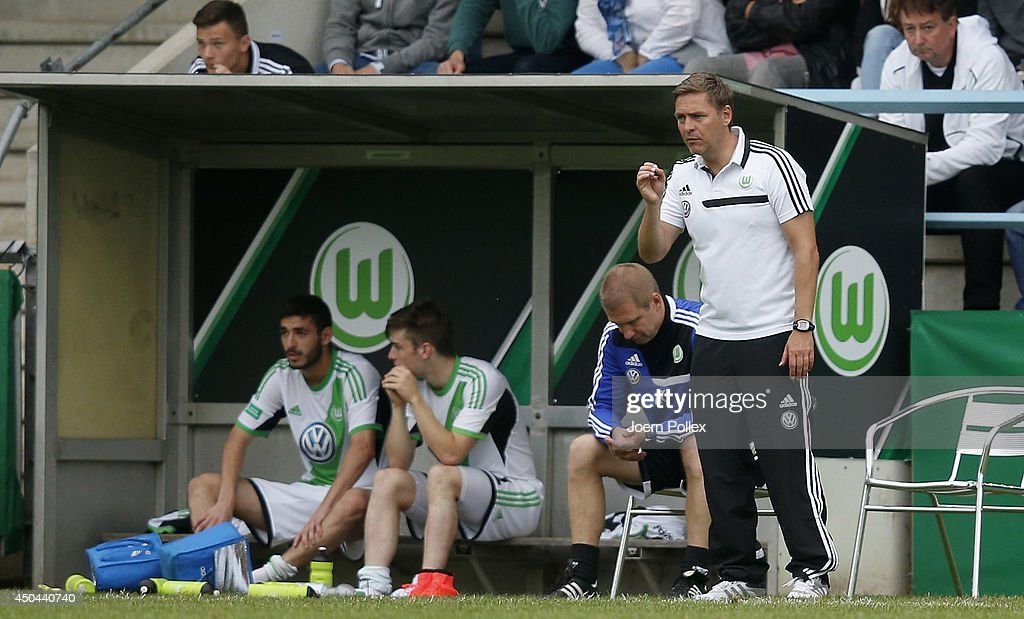 Head coach Dirk Kunert of Wolfsburg gestures during the A Juniors Bundesliga Semi Final at Beekestadium on June 11, 2014 in Hanover, Germany.