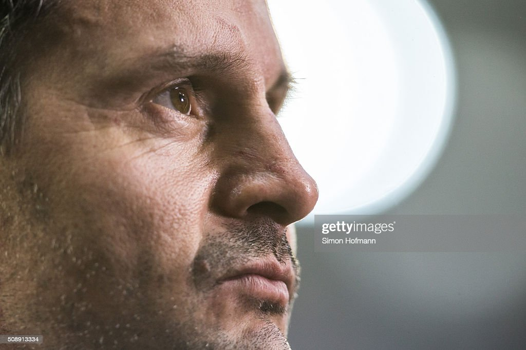 Head coach <a gi-track='captionPersonalityLinkClicked' href=/galleries/search?phrase=Dirk+Schuster&family=editorial&specificpeople=2379789 ng-click='$event.stopPropagation()'>Dirk Schuster</a> of Darmstadt looks on prior to the Bundesliga match between 1899 Hoffenheim and SV Darmstadt 98 at Wirsol Rhein-Neckar-Arena on February 7, 2016 in Sinsheim, Germany.