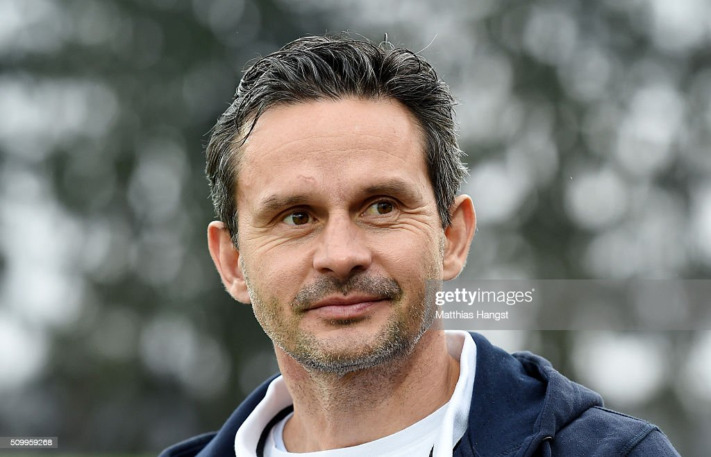 Head coach <a gi-track='captionPersonalityLinkClicked' href=/galleries/search?phrase=Dirk+Schuster&family=editorial&specificpeople=2379789 ng-click='$event.stopPropagation()'>Dirk Schuster</a> of Darmstadt seen prior to the match between SV Darmstadt 98 and Bayer Leverkusen at Merck-Stadion am Boellenfalltor on February 13, 2016 in Darmstadt, Germany.