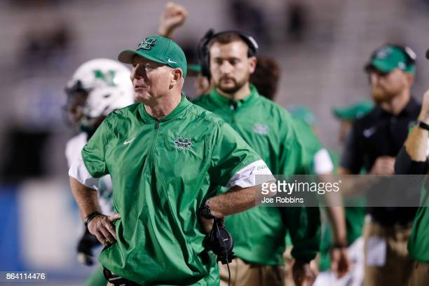 Head coach Doc Holliday of the Marshall Thundering Herd reacts in the third quarter of a game against the Middle Tennessee Blue Raiders at Floyd...