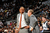Head Coach Doc Rivers and Assistant Coach Lawrence Frank of the Los Angeles Clippers goes over the game plan against the San Antonio Spurs in Game...