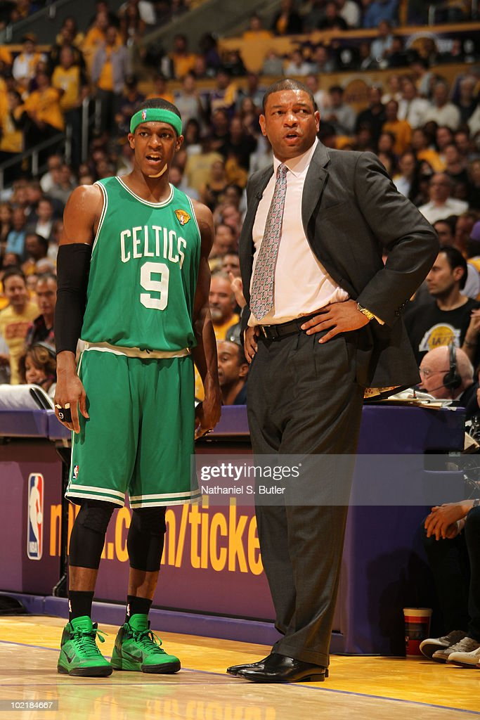 Head Coach Doc Rivers has a word with Rajon Rondo of the Boston Celtics during Game Seven of the 2010 NBA Finals against the Los Angeles Lakers on...