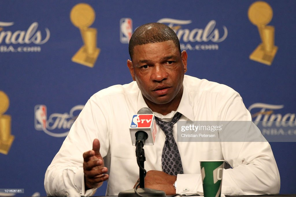 Head coach <a gi-track='captionPersonalityLinkClicked' href=/galleries/search?phrase=Doc+Rivers&family=editorial&specificpeople=206225 ng-click='$event.stopPropagation()'>Doc Rivers</a> of the Boston Celtics answers questions from the media at the post game press conference after the Los Angeles Lakers won Game One of the 2010 NBA Finals 102-89 at Staples Center on June 3, 2010 in Los Angeles, California.
