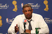 Head coach Doc Rivers of the Boston Celtics answers questions from the media at the post game press conference after the Los Angeles Lakers won Game...