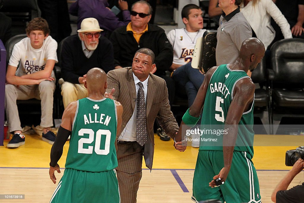 Head coach <a gi-track='captionPersonalityLinkClicked' href=/galleries/search?phrase=Doc+Rivers&family=editorial&specificpeople=206225 ng-click='$event.stopPropagation()'>Doc Rivers</a> of the Boston Celtics celebrates with <a gi-track='captionPersonalityLinkClicked' href=/galleries/search?phrase=Ray+Allen&family=editorial&specificpeople=201511 ng-click='$event.stopPropagation()'>Ray Allen</a> #20 and <a gi-track='captionPersonalityLinkClicked' href=/galleries/search?phrase=Kevin+Garnett&family=editorial&specificpeople=201473 ng-click='$event.stopPropagation()'>Kevin Garnett</a> #5 after the Celtics won 103-94 against the Los Angeles Lakers of the Los Angeles Lakers in Game Two of the 2010 NBA Finals at Staples Center on June 6, 2010 in Los Angeles, California.