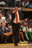Head coach Doc Rivers of the Boston Celtics directs his team against the Los Angeles Lakers in Game Six of the 2010 NBA Finals on June 15 2010 at...