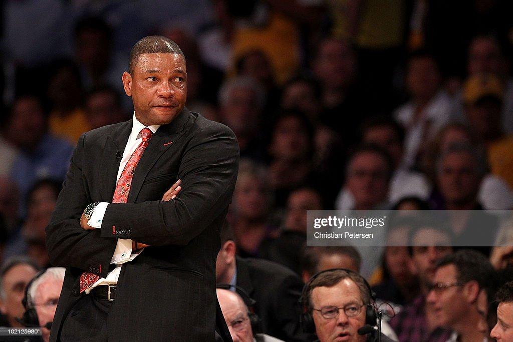 Head coach <a gi-track='captionPersonalityLinkClicked' href=/galleries/search?phrase=Doc+Rivers&family=editorial&specificpeople=206225 ng-click='$event.stopPropagation()'>Doc Rivers</a> of the Boston Celtics looks across the court in the first half against the Los Angeles Lakers in Game Six of the 2010 NBA Finals at Staples Center on June 15, 2010 in Los Angeles, California.