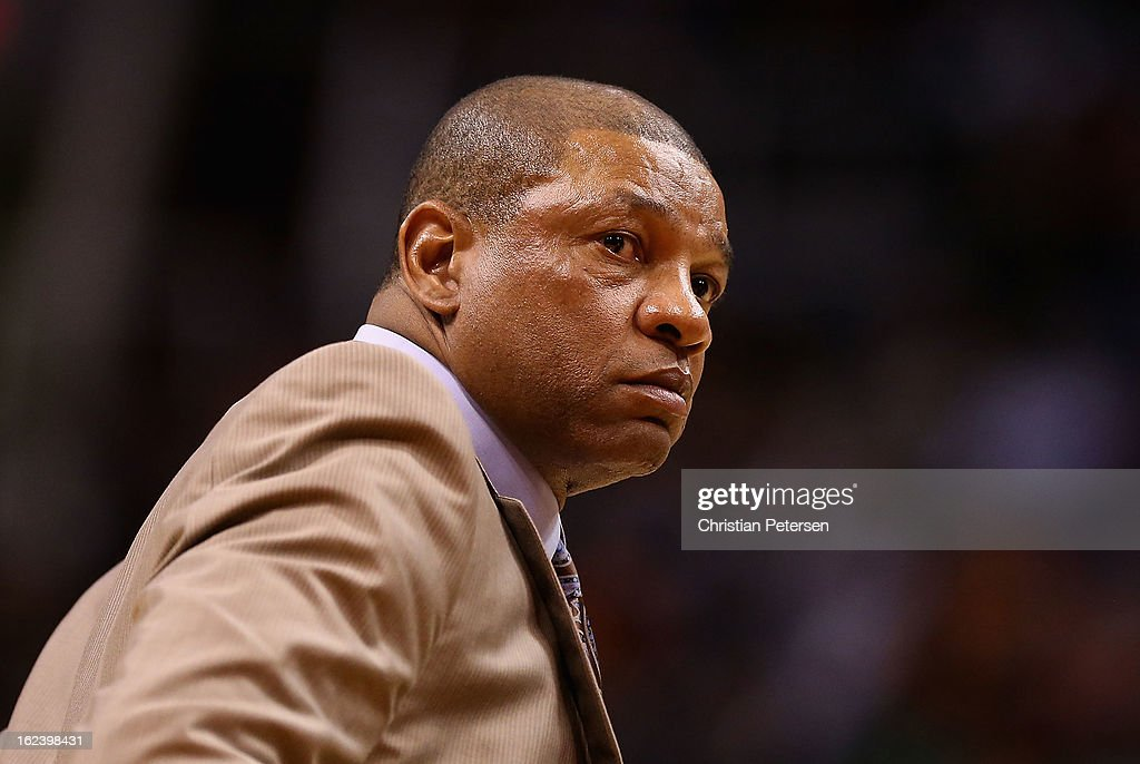 Head coach <a gi-track='captionPersonalityLinkClicked' href=/galleries/search?phrase=Doc+Rivers&family=editorial&specificpeople=206225 ng-click='$event.stopPropagation()'>Doc Rivers</a> of the Boston Celtics looks on during the NBA game against the Phoenix Suns at US Airways Center on February 22, 2013 in Phoenix, Arizona. The Celtics defeated the Suns 113-88.