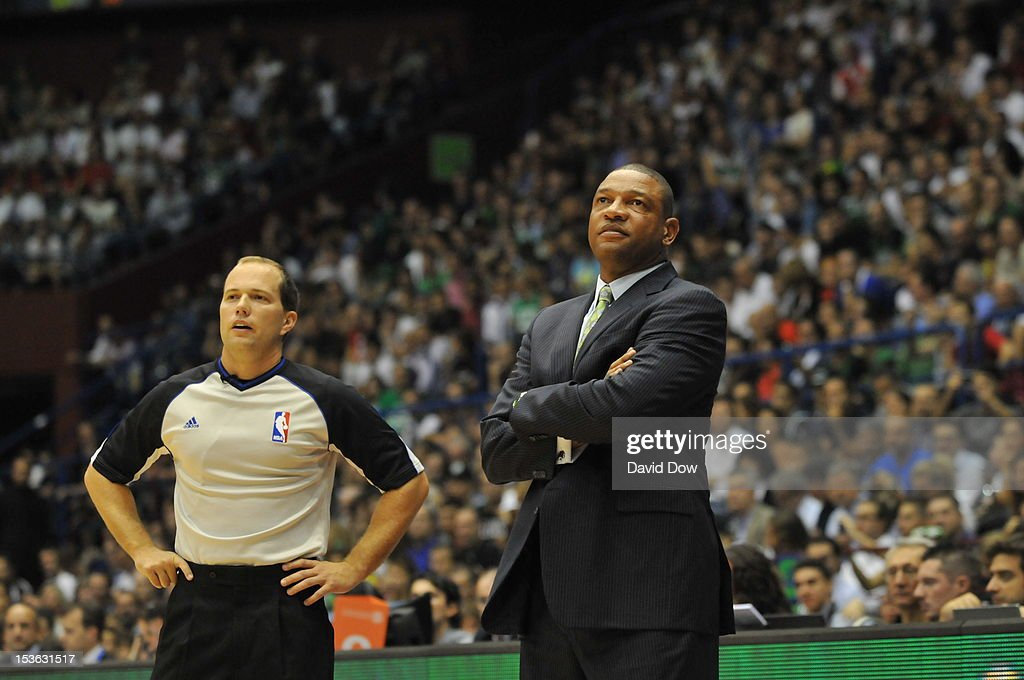 Head Coach <a gi-track='captionPersonalityLinkClicked' href=/galleries/search?phrase=Doc+Rivers&family=editorial&specificpeople=206225 ng-click='$event.stopPropagation()'>Doc Rivers</a> of the Boston Celtics looks on from the sidelines during the game between the Boston Celtics and the EA7 Emporio Armani Milano during NBA Europe Live Tour at the Mediolanum Forum on October 7, 2012 in Milan, Italy.