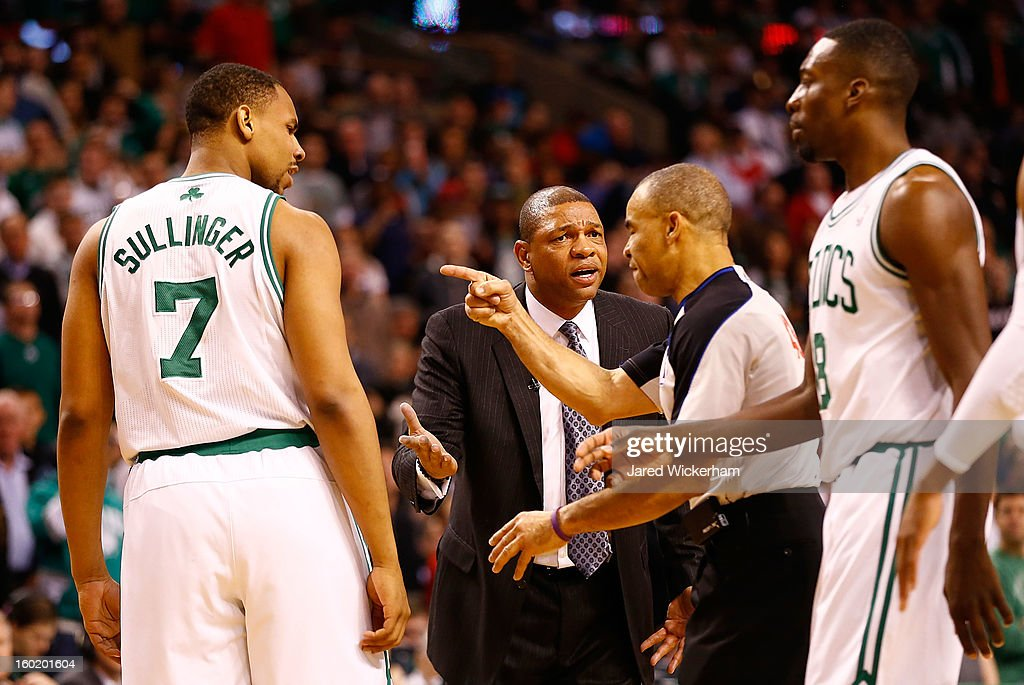 Head coach Doc Rivers of the Boston Celtics questions a technical foul against Jared Sullinger #7 of the Boston Celtics during the game on January 27, 2013 at TD Garden in Boston, Massachusetts.