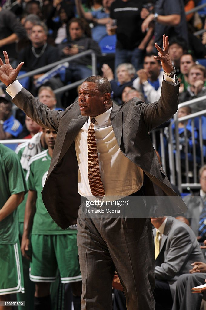 Head Coach Doc Rivers of the Boston Celtics reacts during the game between the Boston Celtics and the Orlando Magic on November 25, 2012 at Amway Center in Orlando, Florida.