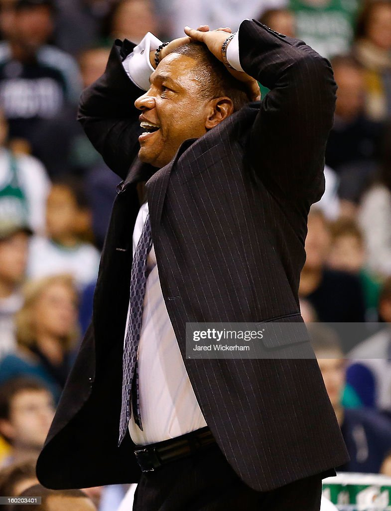 Head coach Doc Rivers of the Boston Celtics reacts following a foul call against the Miami Heat during the game on January 27, 2013 at TD Garden in Boston, Massachusetts.
