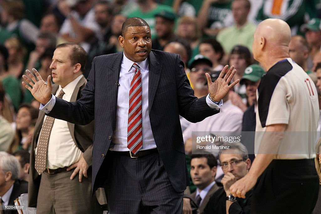 Head coach Doc Rivers of the Boston Celtics reacts towards referee Joey Crawford in the second half against the Los Angeles Lakers during Game Five of the 2010 NBA Finals on June 13, 2010 at TD Garden in Boston, Massachusetts.